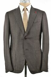 Isaia Nwt Suit Size 50 40r Us Brown And Tan Flannel Stripe Super 130s Wool