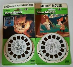 2 Vintage View-master Reels...mickey Mouse And Wald Disney World Adventureland