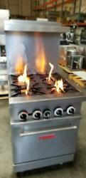 Quantum Leap Commercial 4 Burner / 4 Holes Range Stove Oven. Clean And Works Good
