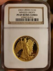 2002 Gold Liberia Low Mintage 100 Gaudens Winged Liberty Ngc Proof 69 Ucam