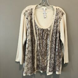 Chicoand039s Womenand039s Ivory W/ Brown Sequin Accents Top And Sweater Size 2 E1423
