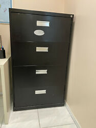 """4 Drawer Metal Legal Size File Cabinet Black With Lock And Key 30""""x18""""x52""""h"""
