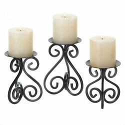 Scrolled Metal Candle Stand Set Centerpiece Mantel Table Home Decor Distressed