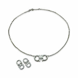 Salvatore Ferragamo Gancini Sterling Silver Necklace And Earrings Special Bundle