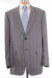 Isaia Nwt Suit Sz 48l Light Gray With Wide Stripe Wool Base S 3895