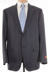 Isaia Nwt Suit Sz 46r Charcoal W/ Very Wide Stripe Wool Base S 3895