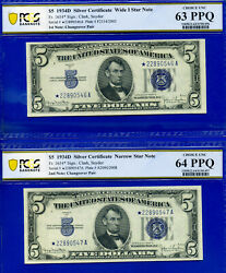 Rare 1934-d 5 S/c Narrow / Wide 1 - Changeover - Star Pcgs 63 And 64ppq-