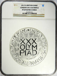 2012 Great Britain Andpound500 100mm London Olympics - 999 Silver Kilo - Ngc Pf69 Ucam