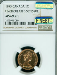 1973 Canada Cent Ngc Ms-69 Rd Pq Mac Finest Grade Spotless Very Rare ..
