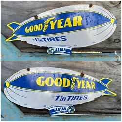 Vintage Goodyear Porcelain Rare Gas Oil Sign 2-sided Auto Tire Blimp Advertising
