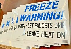 Freeze Warning Signs 19.5 X 25.5 Double Sided W/ Metal Stake Lot Of 5