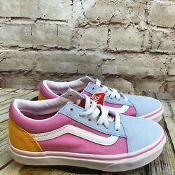 Vans Off the Wall Kids Girls Suede Toe Pink Low Lace Up Sneakers Size 2.5 Youth