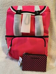 NWT MICHAEL KORS The Michael Bag Large Flap Backpack Pink With Wallet $289.99