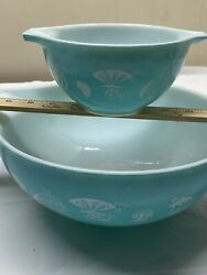 Vintage Pyrex Hot Air Balloon Chip And Dip Bowl Set 's 441 And 444
