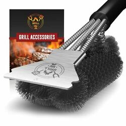 Grillme Grill Brush And Scraper - Sturdy Bbq Grill Cleaning Brush For Outdoor Gr