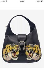 Black Embroidered Tiger Leather Bag 100 Authentic