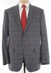 Isaia Nwt Suit Size 44r In Gray W/ Bold Red Plaid Super 140s Wool Base S 3895