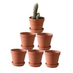 Terra Cotta Pots With Saucer/ceramic Tray,6-pack Large Terracotta Pots Clay