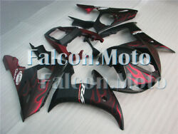Matte Red Flame Black Injection Fairing Fit For Yzf R6 2003-2005 R6s 06-09 Icb
