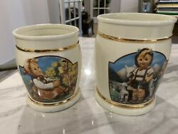 """2 Danbury Mint Hummel Jars Ivory, Gold Canisters """"little Goat And In Time"""" No Lids"""
