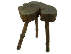 French Hand Carved Wood Milking Stool Pedestal Table Plant Flower Very Rare