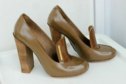 Leather Heels Loafers Shoes Size 37 Uk 4
