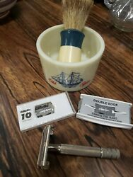 Vintage Old Spice Shave Cup,ever Ready Brush,gillette Razor And 2 Packs Blades