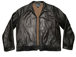 Polo Mens Black Leather Bomber Zip Up Jacket Size Xl