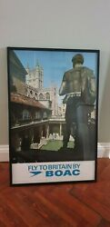 Original Boac Travel Poster. Bath Cathedral And Roman Baths. Framed And Perfect.