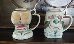 Pair Of Gerz Lidded Beer Steins Large Size Germany Serving Wench And Lederhosen