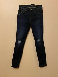 7 For All Mankind Womenandrsquos Ju8216005 Ankle Gwenevere Jeans Blue Msrp135 Size 27