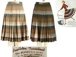 S Vintage 1950s Pendleton Turnabout Reversible Gray Brown Pleated Skirt 50s