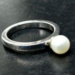 Vintage Pearl 925 Sterling Silver Solitaire Ring Size 6.5 3.95g