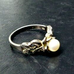 Vintage Pearl And Etched Leaf Filigree 925 Sterling Silver Ring Size 7 2.84g