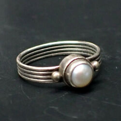 Vintage Pearl 925 Sterling Silver Stackable Ribbed Band Ring Size 5 1.76g