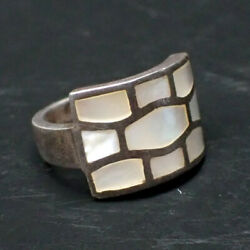 Vintage Mother Of Pearl 925 Sterling Silver Cocktail Ring Size 6.5 7.89g