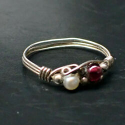 Vintage Red Garnet And Pearl 925 Sterling Silver Wire Ring Size 9.5 1.24g