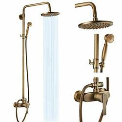 Exposed Pipe Shower System Shower Fixture Single Handle 8 Inch Antique Brass