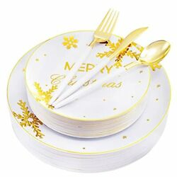 125pieces Christmas Plastic Platesandgold Plastic Silverware With White/gold