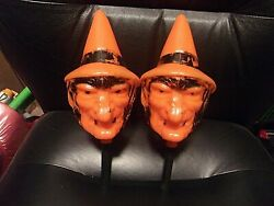 Lot Of 2 Vintage Witch Bayshore Blow Mold Halloween Plastic Rattle Shakers