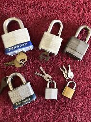 Master Lock And Key Sets + Castle Lock / Key 6 Locks Total In Lot Free Shipping