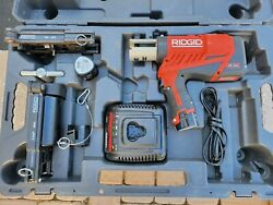 Ridgid Pressframe Rp240 Press Frame With 1/2 And 1 5/8 Jma Charger And 2 Batteries