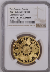 2021 Gold Proof Queenand039s Beasts Completer 1oz Andpound100 Ngc Pf69 Ultra Cameo Graded