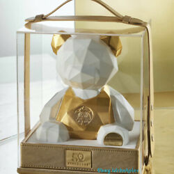 Starbucks 50th Anniversary Limited Ceramic Bear Gift Box Apron Ears Gold Plated