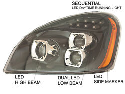 For 08-17 2008-2017 Cascadia Head Lamp Led Projector Sequential Pair Right Left