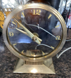 Vintage 1950and039s Mcm Haddon Golden Visionette Mystery Clock Works