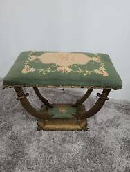 Art Deco Antique Petit Point Gold Hammered Iron Stool Chair Bench Sword Saber