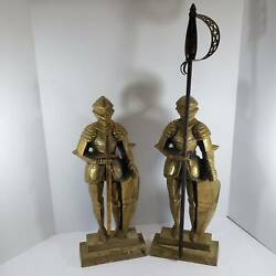 Vintage Pair Gold Cast Iron Fireplace Tools Knight In Armor Guards Sword Poker
