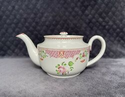 19th Century Antique Staffordshire Queen's Rose Pearlware Pottery Teapot