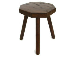Antique Hand Carved Wood Milking Stool Pedestal Table Pedestal Country Style